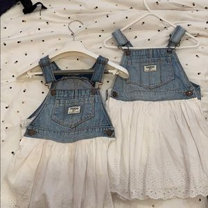 Two Osh Kosh BGosh Eyelet Jean Dress Jumpers